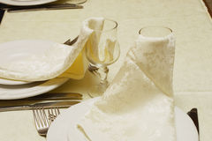 Two glasses with napkins Royalty Free Stock Photography