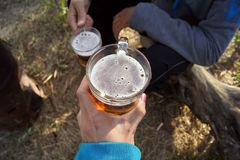 Two glasses of nonalcoholic beer, Iran. Two glasses of nonalcoholic beer in our hands, Iran Stock Photos