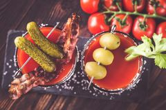 Free Two Glasses Of Bloody Mary Royalty Free Stock Photography - 136900627
