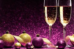 Free Two Glasses Of Champagne Ready For Christmas Celebration Royalty Free Stock Images - 47732569