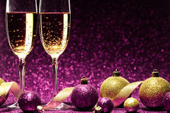 Free Two Glasses Of Champagne Ready For Christmas Celebration Stock Image - 80684701