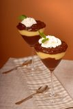Two Glasses Of Pudding Stock Images