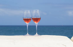Free Two Glasses Of Rose Wine Stock Photography - 58757542