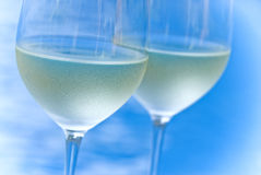 Two Glasses Of White Wine Stock Photography