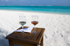 Free Two Glasses Of Wine At The Beach Stock Photos - 50112733