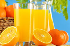 Two glasses of orange juice and fruits Stock Images