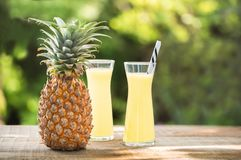 Two glasses of pineapple juice with a raw pine apple Stock Photos