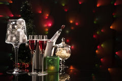 Two glasses of red champagne and Christmas decorations Royalty Free Stock Image