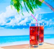 Two glasses of red cocktail with blur beach and palm Stock Image