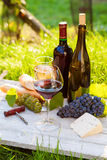 Two glasses of red and white wine and bottle Stock Photo