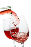 Two glasses of red wine. Isolated on white background Royalty Free Stock Photo