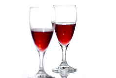 Two glasses of red wine. Royalty Free Stock Image