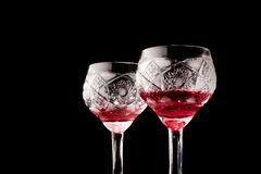 Two glasses of red wine Stock Photos