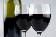 Two Glasses of Red Wine Bottle Royalty Free Stock Photo