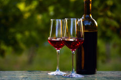 Two glasses of red wine and bottle Royalty Free Stock Photography