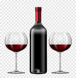 Two glasses of red wine and bottle of wine Stock Photography