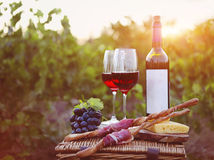 Two glasses of red wine with bread, meat, grape and cheese Royalty Free Stock Photo