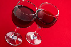 Two glasses with red wine. Royalty Free Stock Photography