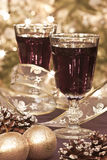Two glasses of red wine with decoration Stock Photos