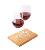 Two glasses of the red wine isolated Stock Photos