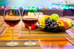 Two glasses of red wine on the table Stock Photography