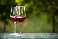 Two glasses of red wine on table Royalty Free Stock Images