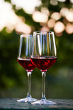 Two glasses of red wine on table in the vineyard Royalty Free Stock Images