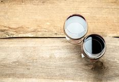 Two Glasses of Red Wine. The Top View Royalty Free Stock Images