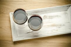 Two Glasses of Red Wine. The Top View Stock Photography