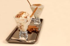 Two glasses of rice pudding  Royalty Free Stock Photos