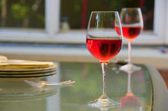 Two glasses of rosé wine in the garden Royalty Free Stock Images