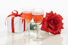 Two glasses and rose Stock Photography