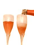 Two glasses of rose champagne Royalty Free Stock Image