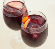 Two glasses of sangria, close-up Royalty Free Stock Photos