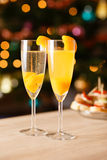 Two glasses of sparkling wine with apricot Stock Image