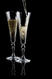 Two glasses of sparkling wine (champagne) royalty free stock photo