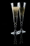 Two glasses of sparkling wine (champagne) Royalty Free Stock Images
