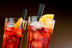 Two glasses of spritz aperitif aperol cocktail with orange slices and ice cubes Royalty Free Stock Images