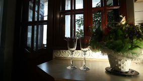 Two glasses standing on the windiw sill. Two elegant glasses standing on the dark windiw sill next to the green plant with soft light of the lamp and white stock footage
