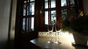 Two glasses standing on the windiw sill. Two elegant glasses standing on the dark windiw sill next to the green plant with white light of the lamp stock footage