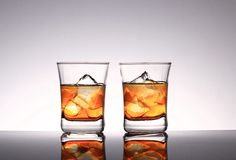 Two glasses with strong whiskey Stock Photo