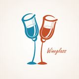 Two glasses. Stylized couple of glasses of wine (champagne Stock Photos