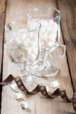 Two glasses of sweet marshmallow Royalty Free Stock Images