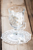 Glass with sweet marshmallow Stock Images