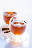 Two glasses of tea stock image