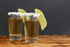 Two glasses of tequila with lime and salt stock image