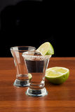 Two glasses of tequila, salt and lime Royalty Free Stock Images