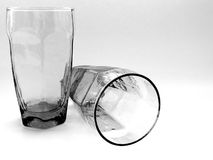 Two Glasses Together. In Black and White with white background Royalty Free Stock Images