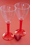 Two glasses with valentine heart Stock Photography