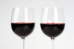 Two glasses of vine stock images
